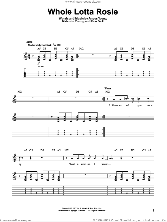 Whole Lotta Rosie sheet music for guitar (tablature, play-along) by AC/DC, Angus Young, Bon Scott and Malcolm Young, intermediate