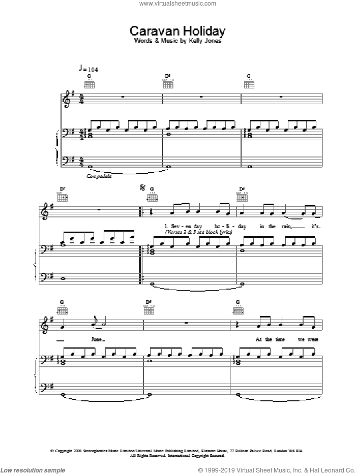 Caravan Holiday sheet music for voice, piano or guitar by Stereophonics. Score Image Preview.
