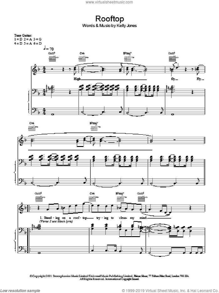 Rooftop sheet music for voice, piano or guitar by Stereophonics. Score Image Preview.