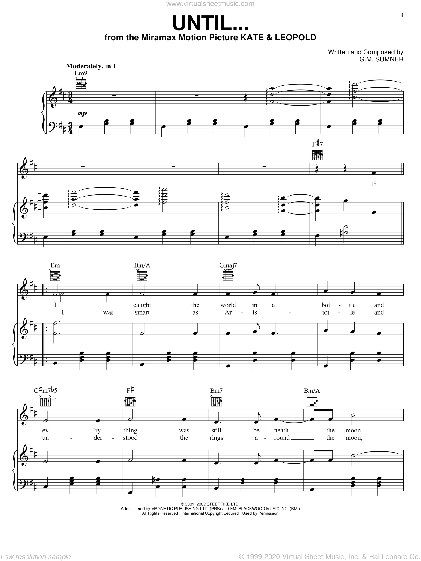 Until... sheet music for voice, piano or guitar by Sting and G.M. Sumner, intermediate skill level