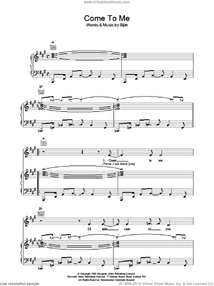 Come To Me sheet music for voice, piano or guitar by Bjork Gudmundsdottir, intermediate. Score Image Preview.