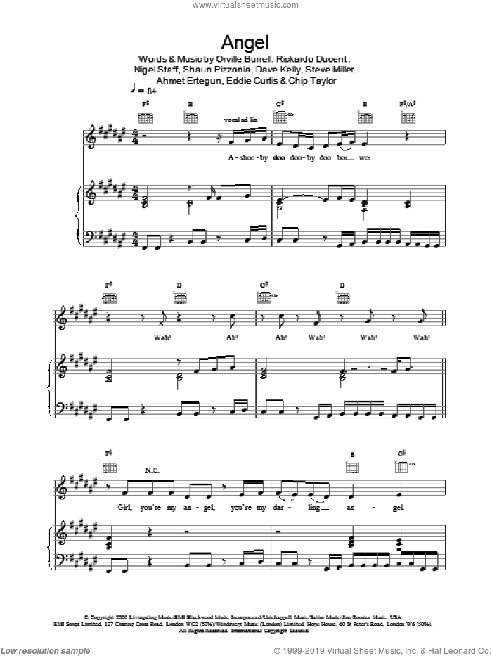 Angel sheet music for voice, piano or guitar by Rickardo Ducent