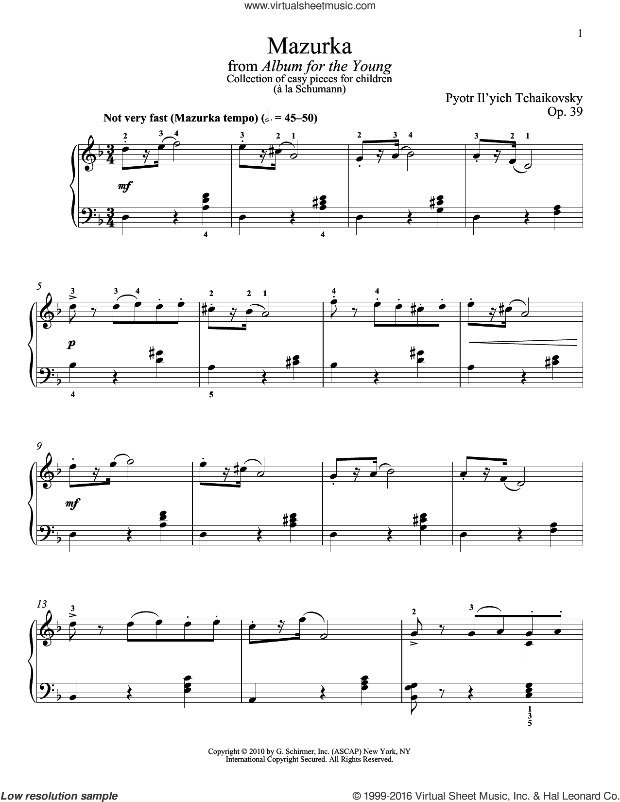Mazurka sheet music for piano solo by Pyotr Ilyich Tchaikovsky. Score Image Preview.