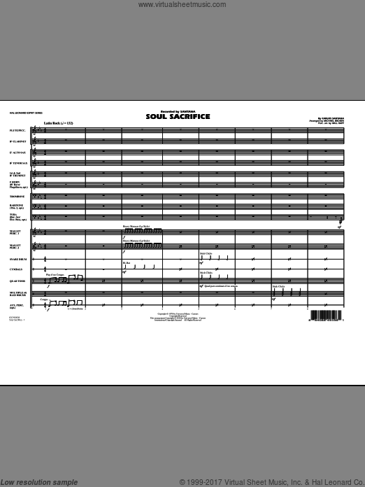 Soul Sacrifice (COMPLETE) sheet music for marching band by Michael Brown
