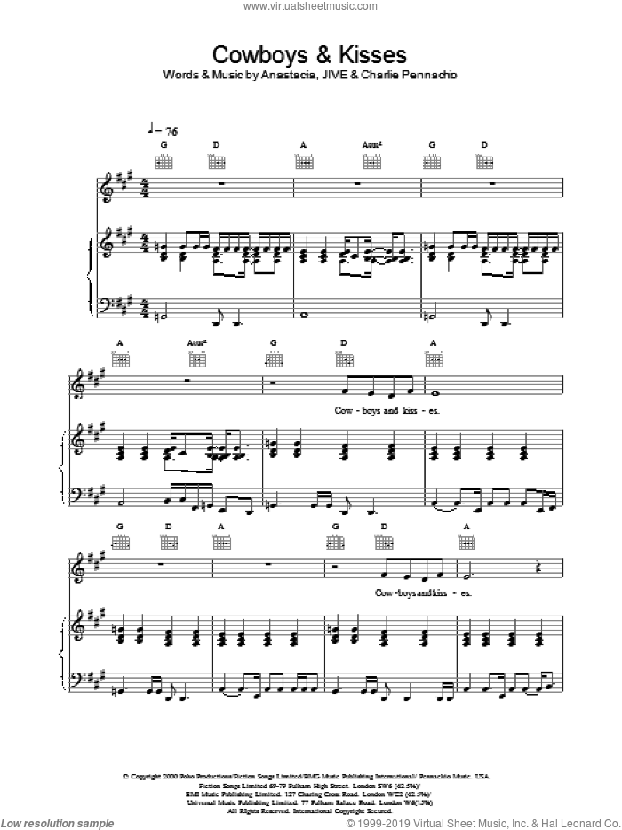 Cowboys and Kisses sheet music for voice, piano or guitar by Anastacia, intermediate voice, piano or guitar. Score Image Preview.