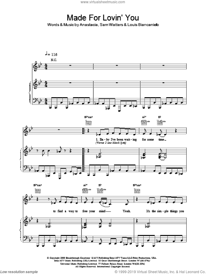 Made For Loving You sheet music for voice, piano or guitar by Anastacia, Louis Biancaniello and Sam Watters, intermediate