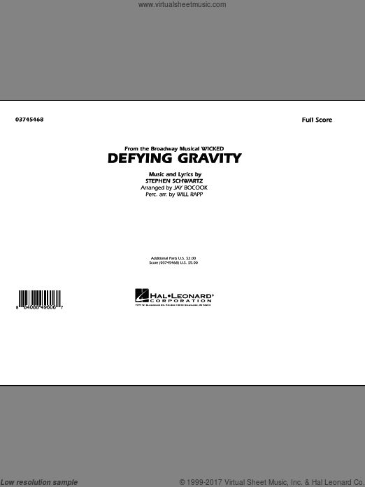 Defying Gravity (from Wicked) (COMPLETE) sheet music for marching band by Stephen Schwartz