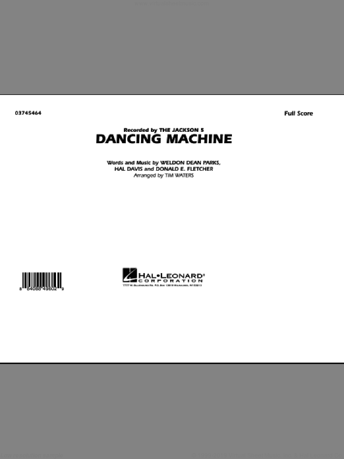 Dancing Machine (COMPLETE) sheet music for marching band by Tim Waters and The Jackson 5, intermediate marching band. Score Image Preview.