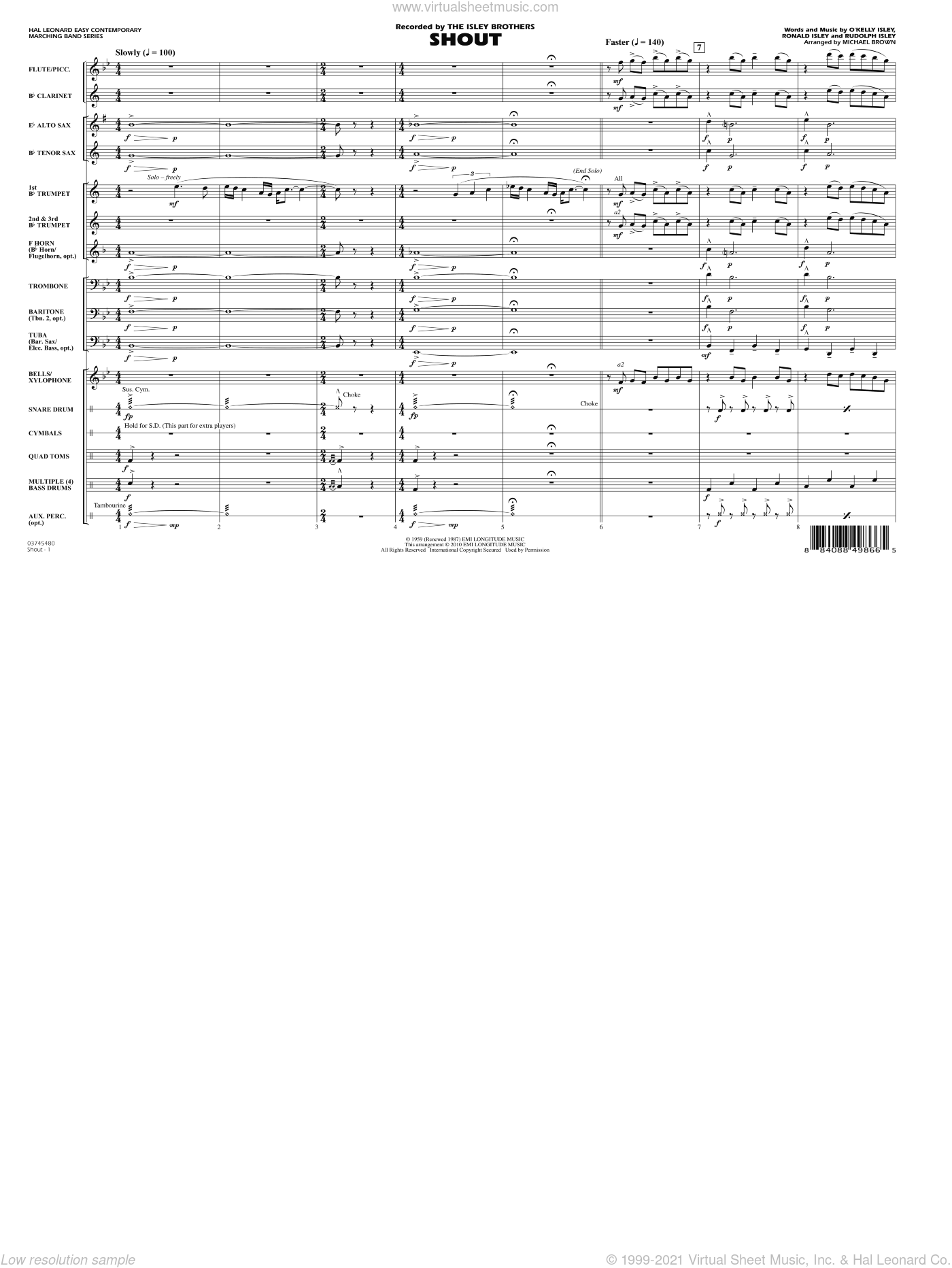 Shout sheet music for marching band (full score) by O Kelly Isley