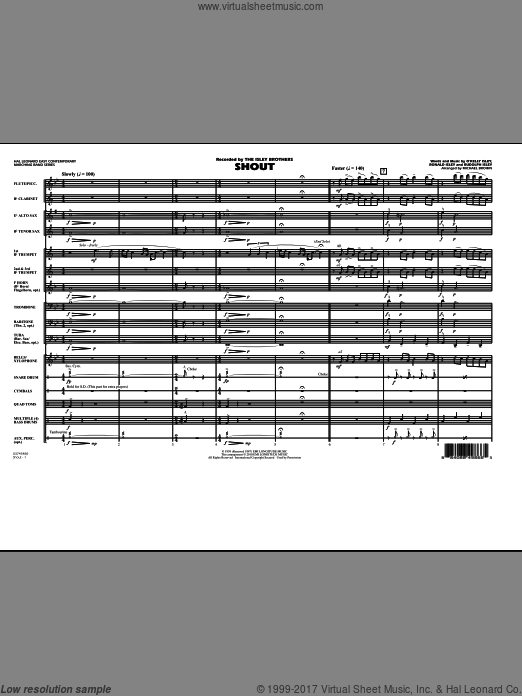 Shout (COMPLETE) sheet music for marching band by O Kelly Isley