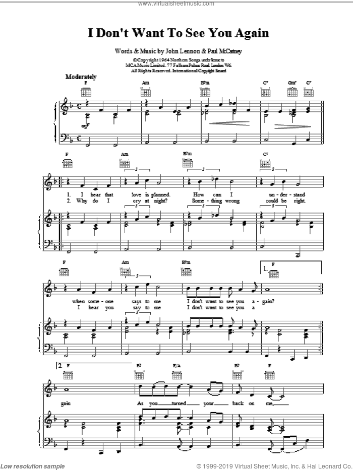 I Don't Want To See You Again sheet music for voice, piano or guitar by The Beatles and Paul McCartney. Score Image Preview.