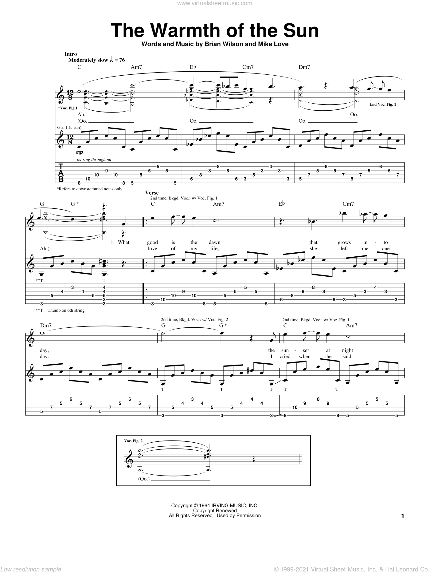 The Warmth Of The Sun sheet music for guitar (tablature) by The Beach Boys, Brian Wilson and Mike Love, intermediate skill level
