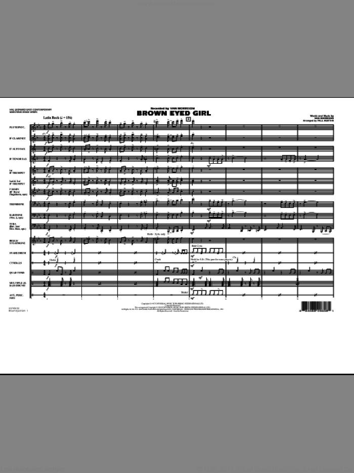 Brown Eyed Girl (COMPLETE) sheet music for marching band by Van Morrison and Paul Murtha, intermediate skill level