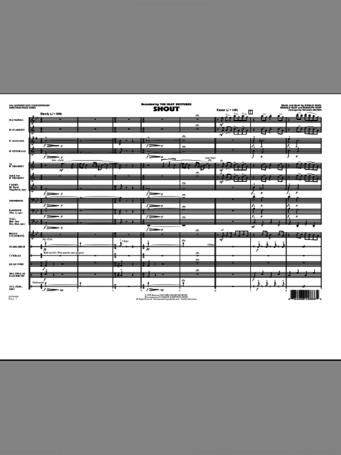 Shout (COMPLETE) sheet music for marching band by O Kelly Isley, Michael Brown and The Isley Brothers, intermediate. Score Image Preview.
