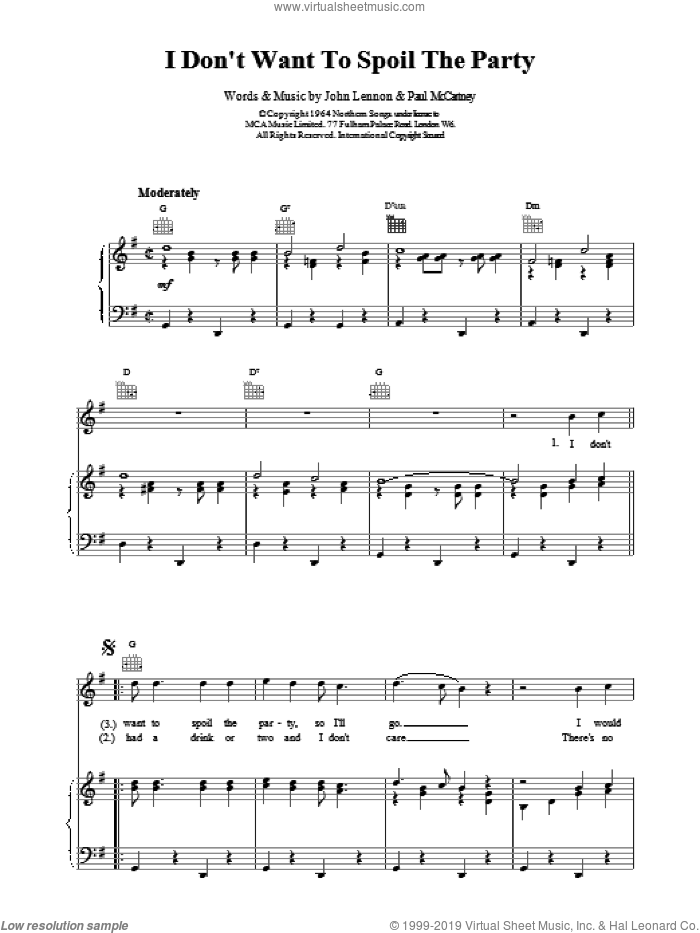 I Don't Want To Spoil The Party sheet music for voice, piano or guitar by The Beatles, intermediate skill level