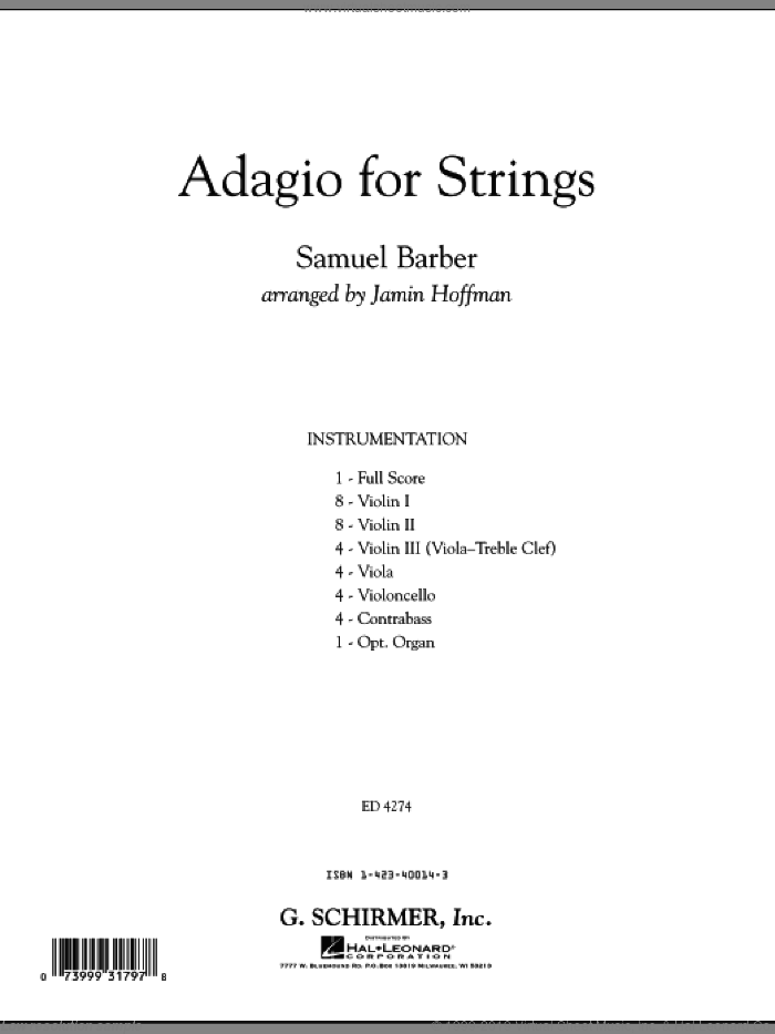 Adagio For Strings (COMPLETE) sheet music for orchestra by Samuel Barber and Jamin Hoffman, classical score, intermediate skill level
