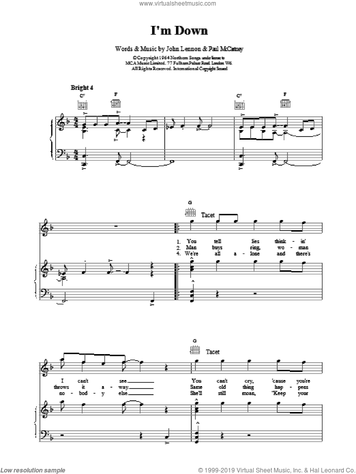 I'm Down sheet music for voice, piano or guitar by The Beatles, LENNON and Paul McCartney, intermediate skill level