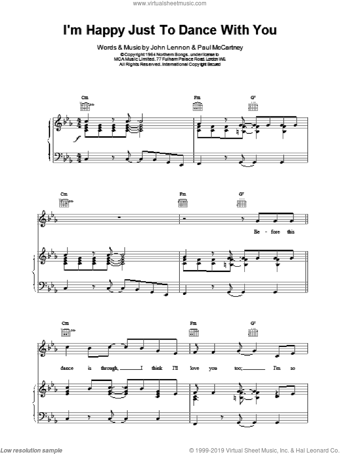 I'm Happy Just To Dance With You sheet music for voice, piano or guitar by The Beatles, intermediate skill level