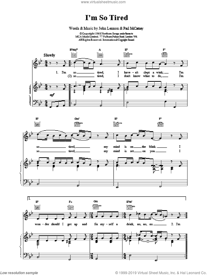 I'm So Tired sheet music for voice, piano or guitar by The Beatles, LENNON and Paul McCartney, intermediate skill level