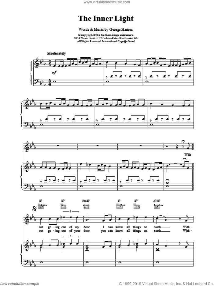 The Inner Light sheet music for voice, piano or guitar by The Beatles and George Harrison, intermediate skill level