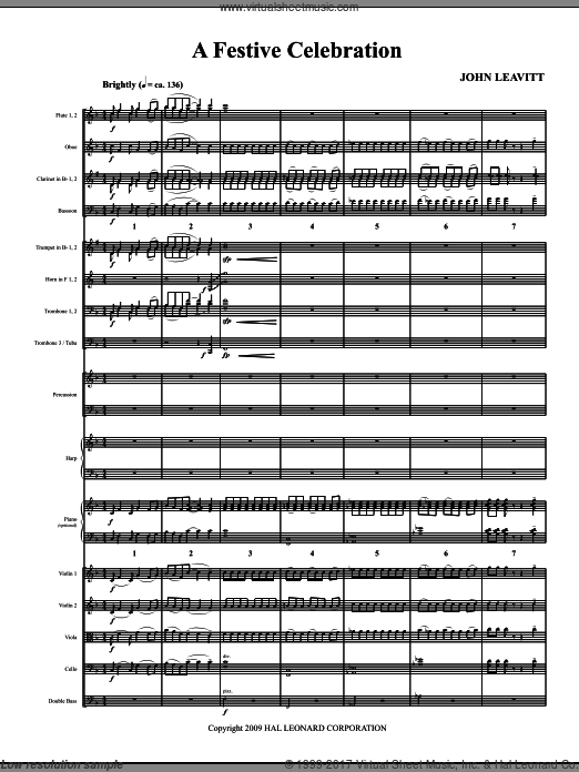 A Festive Celebration (COMPLETE) sheet music for orchestra by John Leavitt