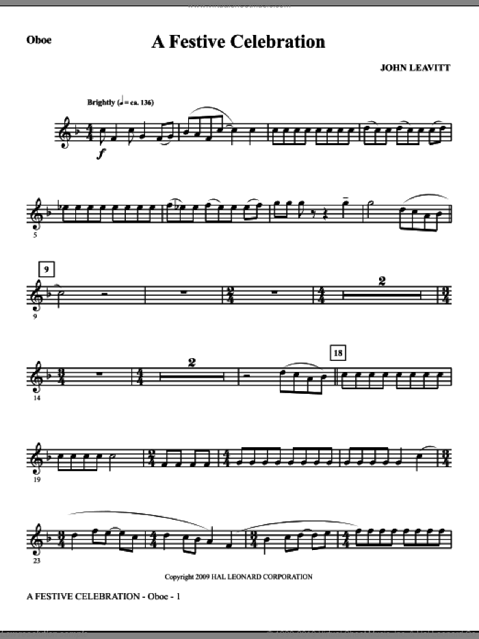 A Festive Celebration sheet music for orchestra/band (oboe) by John Leavitt