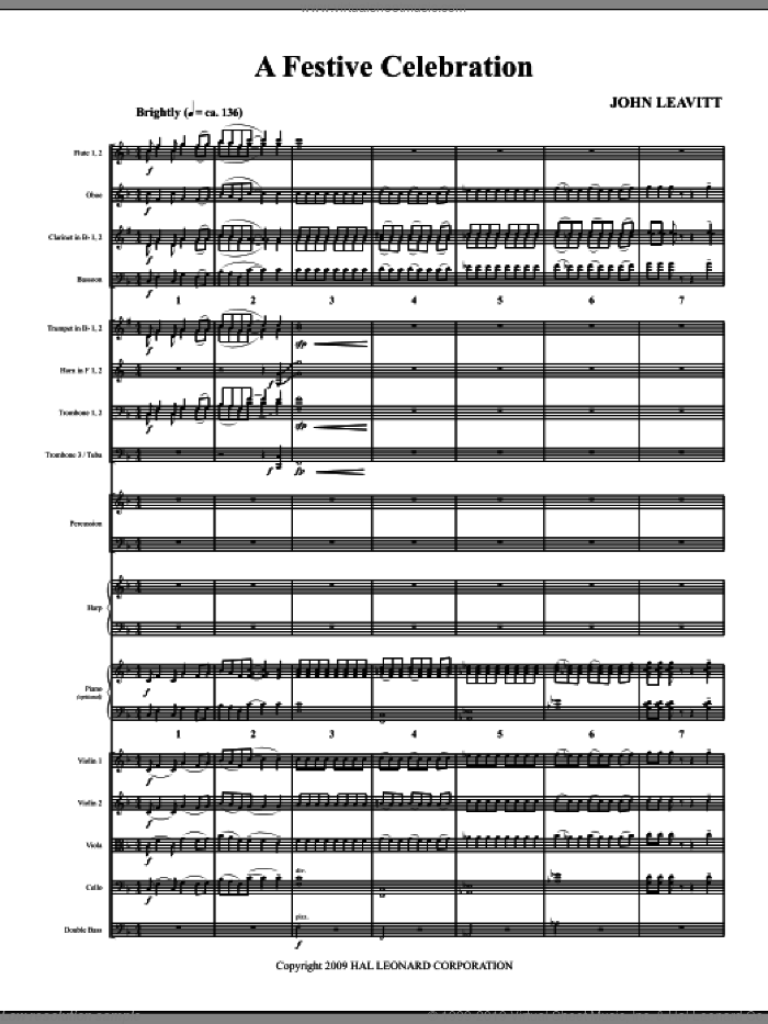 A Festive Celebration (COMPLETE) sheet music for orchestra/band (Orchestra) by John Leavitt, intermediate skill level