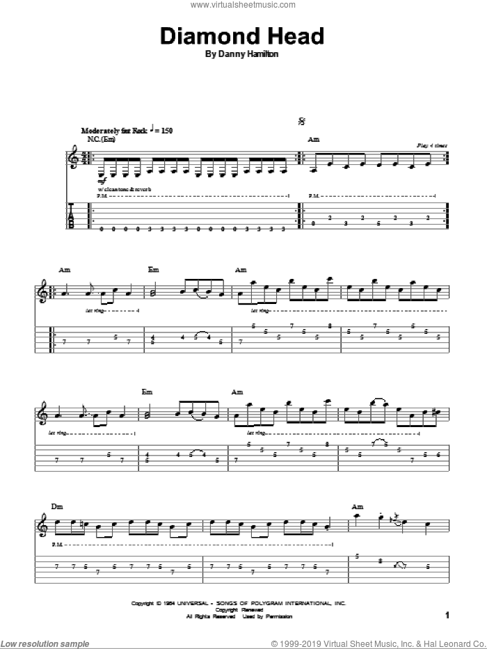 Diamond Head sheet music for guitar (tablature, play-along) by Danny Hamilton and The Ventures