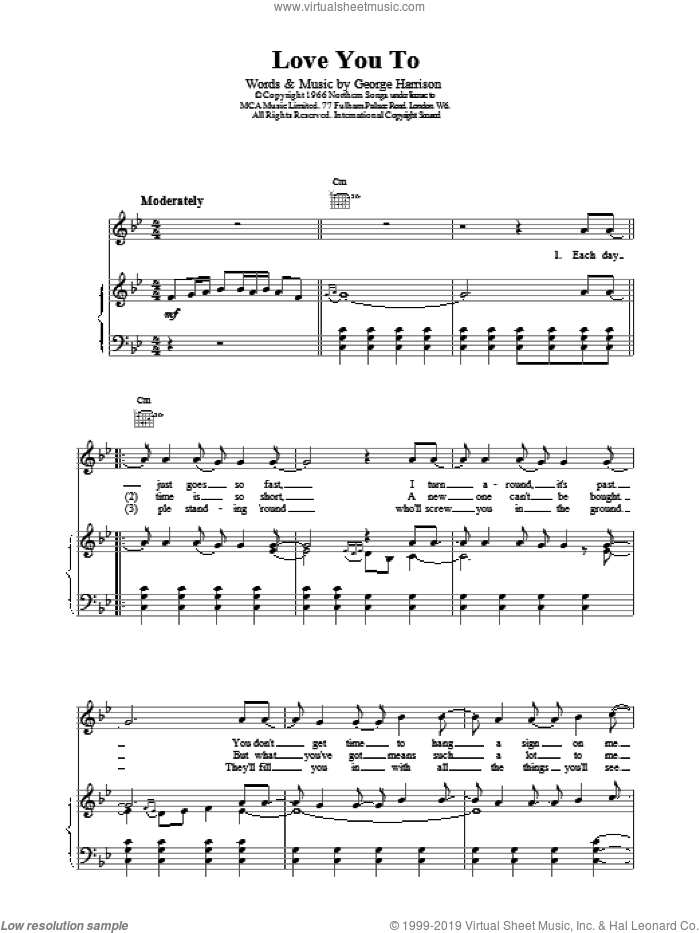 Love You Too sheet music for voice, piano or guitar by The Beatles and George Harrison, intermediate skill level