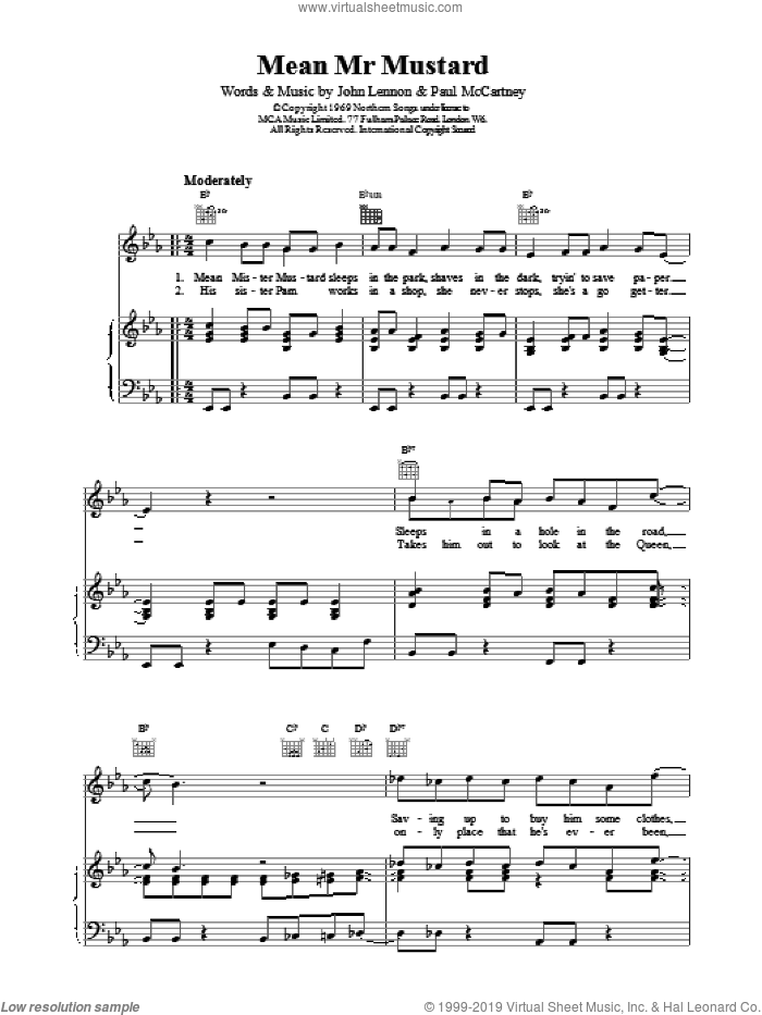Mean Mr. Mustard sheet music for voice, piano or guitar by The Beatles and Paul McCartney, intermediate voice, piano or guitar. Score Image Preview.