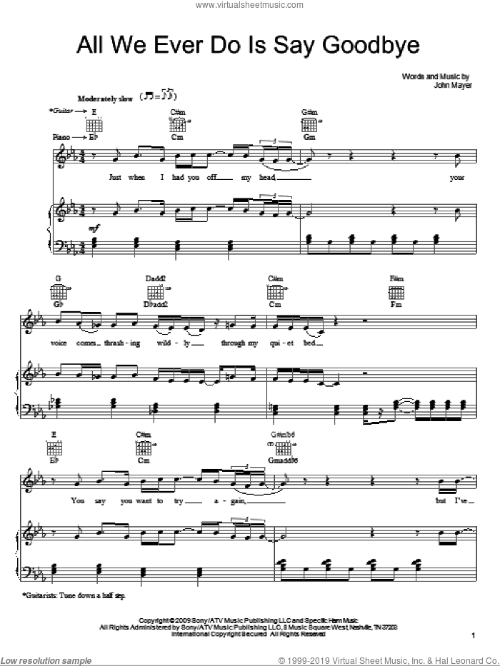All We Ever Do Is Say Goodbye sheet music for voice, piano or guitar by John Mayer