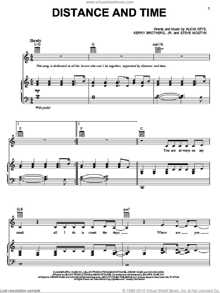 Distance And Time sheet music for voice, piano or guitar by Alicia Keys, Kerry Brothers and Steve Mostyn, intermediate skill level