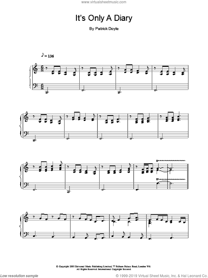 It's Only A Diary sheet music for voice, piano or guitar by Patrick Doyle. Score Image Preview.