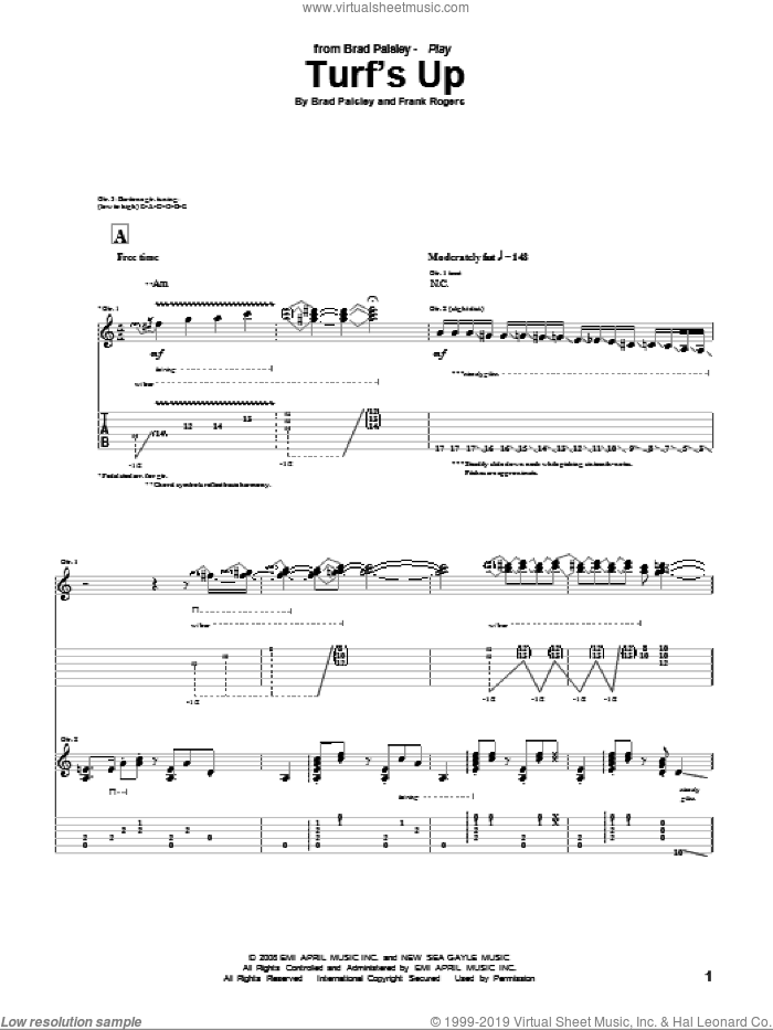 Turf's Up sheet music for guitar (tablature) by Brad Paisley. Score Image Preview.