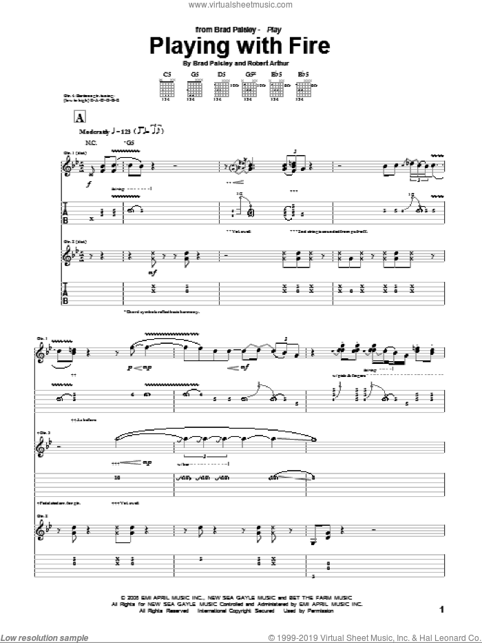 Playing With Fire sheet music for guitar (tablature) by Robert Arthur and Brad Paisley. Score Image Preview.