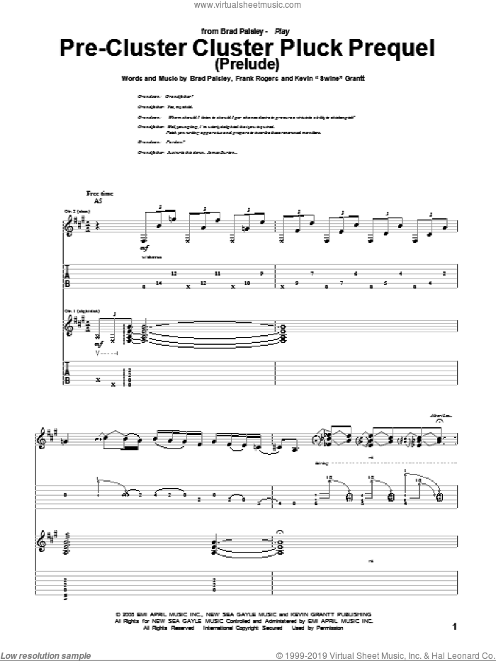 Pre-Cluster Cluster Pluck Prequel (Prelude) sheet music for guitar (tablature) by Kevin