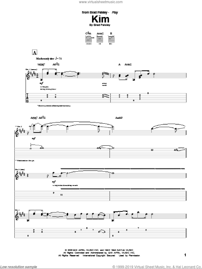 Kim sheet music for guitar (tablature) by Brad Paisley, intermediate. Score Image Preview.