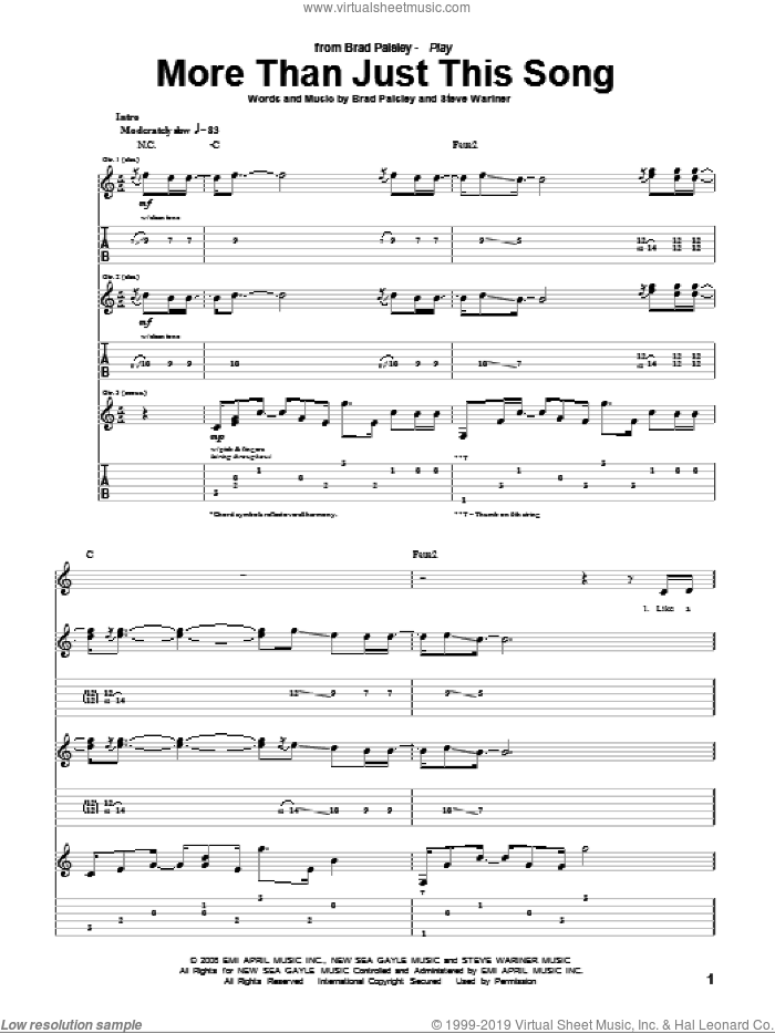 More Than Just This Song sheet music for guitar (tablature) by Brad Paisley and Steve Wariner, intermediate