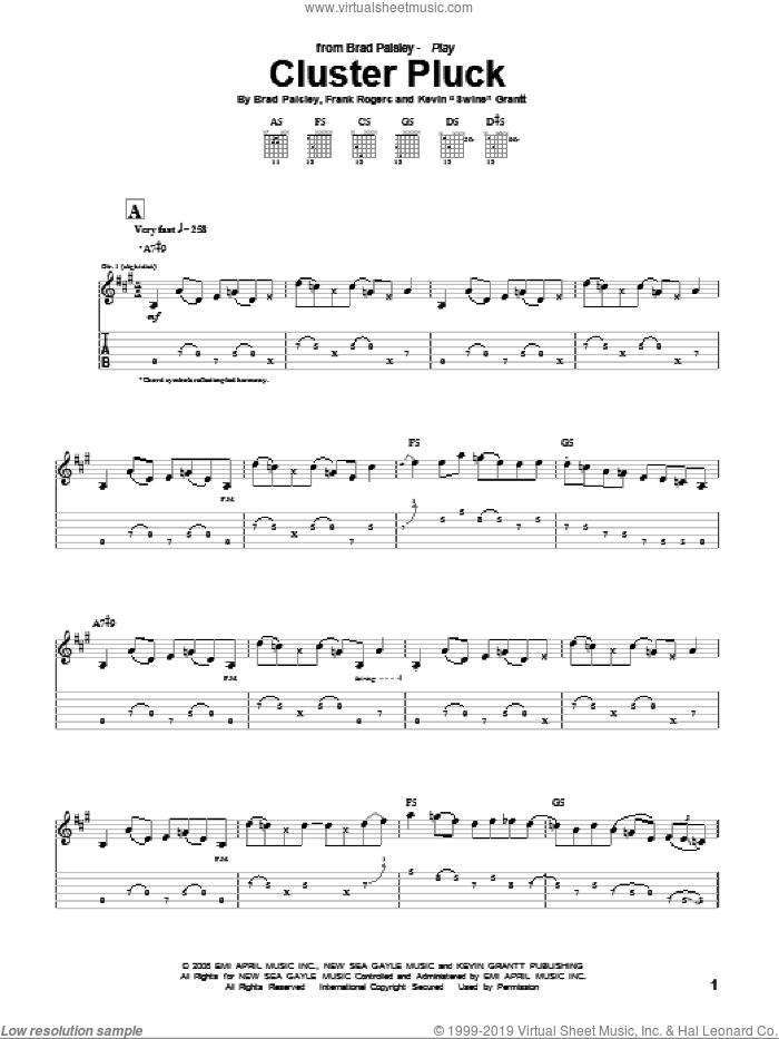Cluster Pluck sheet music for guitar (tablature) by Brad Paisley, intermediate