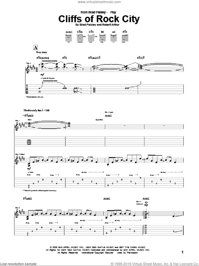 Cliffs Of Rock City sheet music for guitar (tablature) by Robert Arthur and Brad Paisley