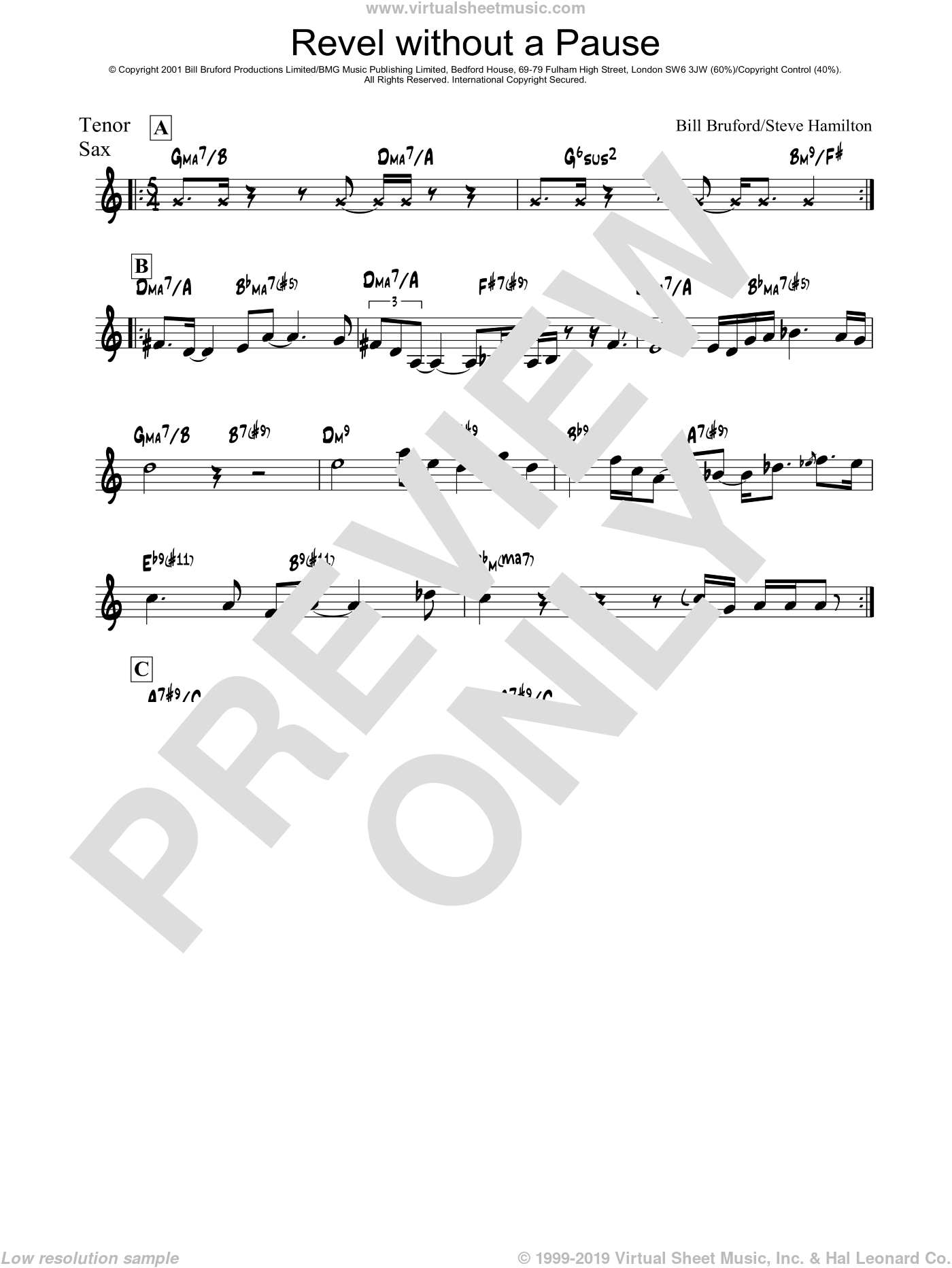 Revel Without A Pause sheet music for voice and other instruments (fake book) by Bill Bruford and Steve Hamilton, intermediate skill level