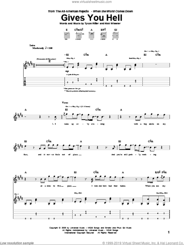 Gives You Hell sheet music for guitar (tablature) by Tyson Ritter. Score Image Preview.
