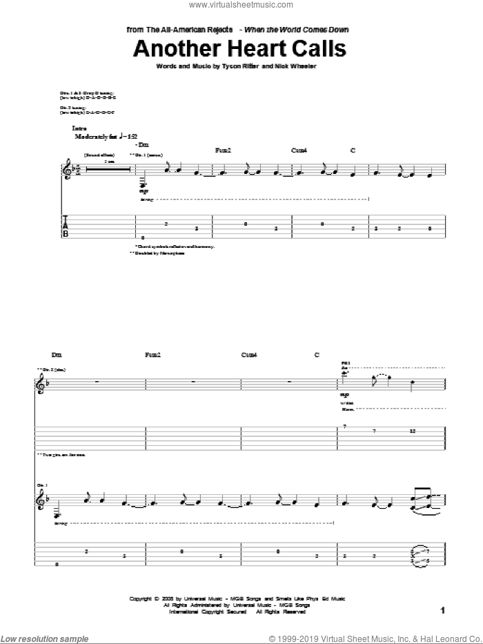 Another Heart Calls sheet music for guitar (tablature) by Tyson Ritter
