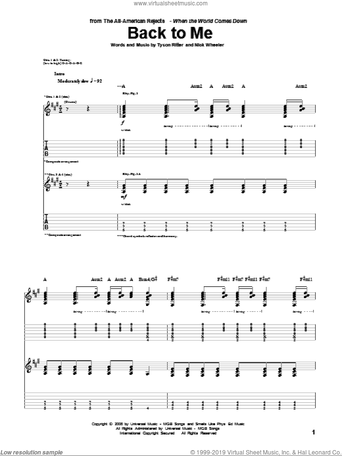 Back To Me sheet music for guitar (tablature) by Tyson Ritter