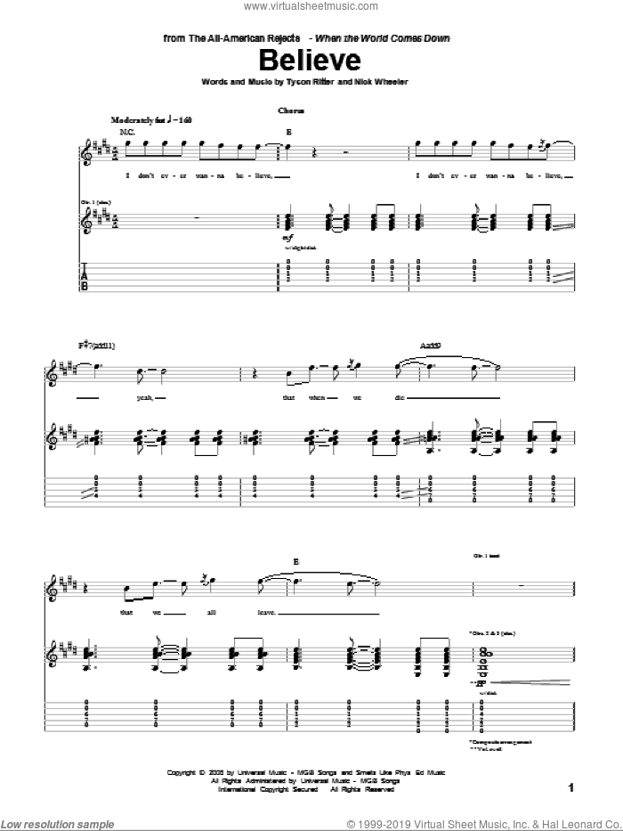 Believe sheet music for guitar (tablature) by The All-American Rejects, intermediate guitar (tablature). Score Image Preview.