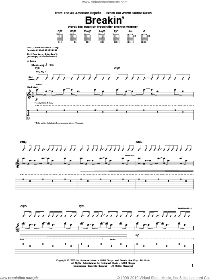 Breakin' sheet music for guitar (tablature) by Tyson Ritter. Score Image Preview.