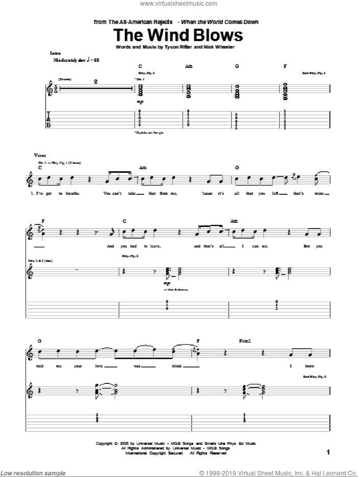 The Wind Blows sheet music for guitar (tablature) by Tyson Ritter. Score Image Preview.