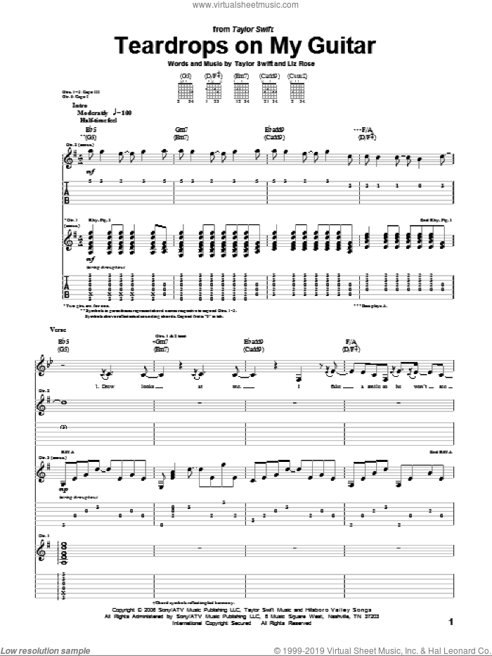 Teardrops On My Guitar sheet music for guitar (tablature) by Taylor Swift and Liz Rose, intermediate skill level