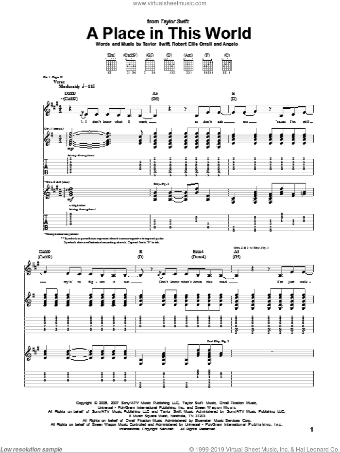 A Place In This World sheet music for guitar (tablature) by Robert Ellis Orrall, Patty Griffin and Taylor Swift. Score Image Preview.