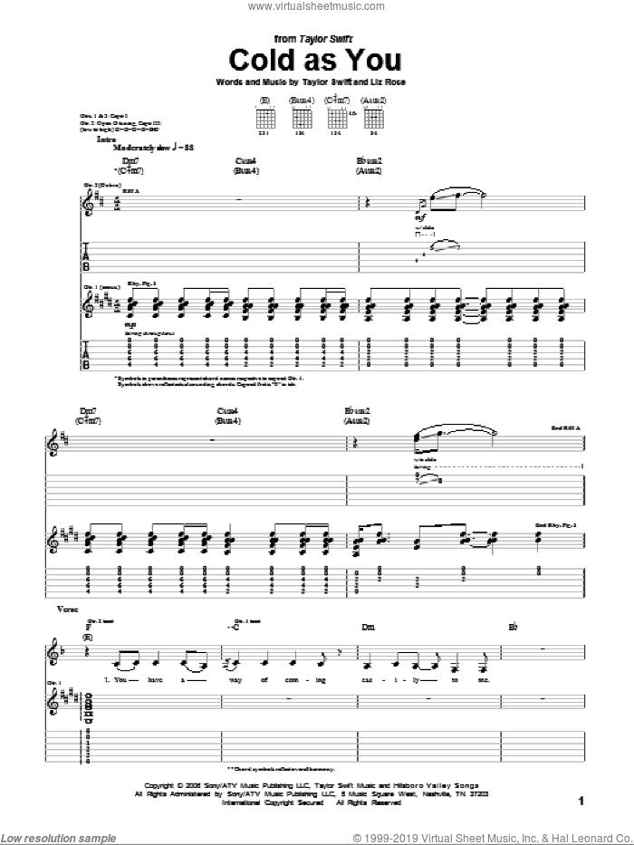 Cold As You sheet music for guitar (tablature) by Liz Rose and Taylor Swift. Score Image Preview.